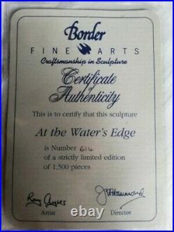 BORDER FINE ARTS, AT THE WATER'S EDGE, PERFECT. Limited Edition, Rare, Cert. Box