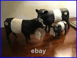 Border Fine Arts Set Belted Galloway Cow, Calf And Bull, All Boxed