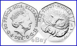 Mrs Tiggy Winkle 50p Rare Coin BEATRIX POTTER RARE COINS COLLECTOR- 2016
