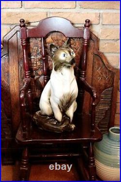 Vintage Large Very Rare'Royal Dux' Porcelain Cat Figurine
