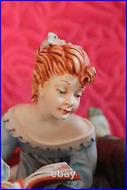Vintage Very Large Italian Capodimonte Porcelain Figurine Story Teller Cortese
