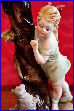 Vintage Very Rare Capodimonte Bruno Merli Figurine Girl with Begging Dog by Tree